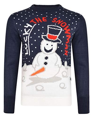NOROZE Herren Weihnachten Pullover Neuheit Faire Insel Jumper Grobstrick Pulli für Frauen Unisex (S, Lucky Snowman Marine)
