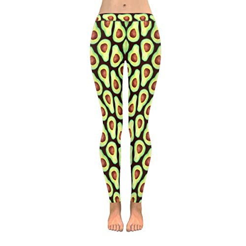 INTERESTPRINT Funny Watercolor Avocado Women's Capri Leggings Stretchy Skinny Yoga Pants S