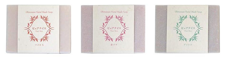 石油不条理麺ピュアナイス おきなわ素材石けんシリーズ 3個セット(ツバキ5、赤バナ、ゲットウ)