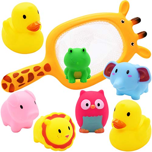 Miotlsy Bath Toys For Kids,7pcs Baby Bath Toy Toddler Bathtub Toy Floating Toy Fishing Net Game Rubber Squirt Farm And Ocean Animals Bathtime Water Fun Toy For Baby Toddlers Kids