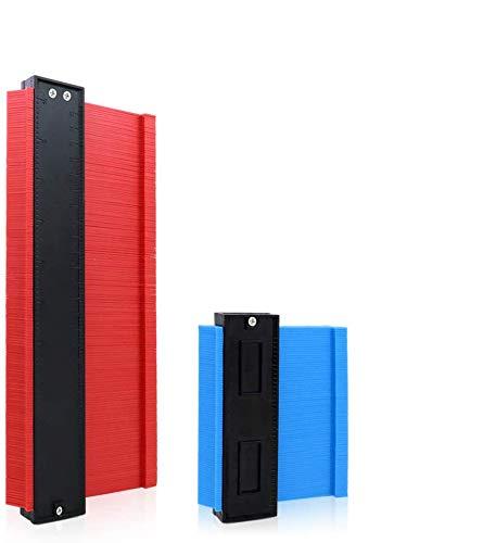 Konturenlehre Konturmesser, Kopierer mit Skala, Vervielfältigungslehre Duplikator unregelmäßiges Profilmessgerät für präzise Messung, Ideal für Laminat, Fliesen uvm. 25,4cm-Rot, 12,7cm-Blau, 2 Stück