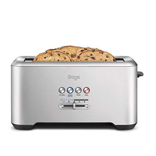 Sage Appliances STA730 the Bit More, 4-Scheiben Toaster, Gebürstetes Edelstahl