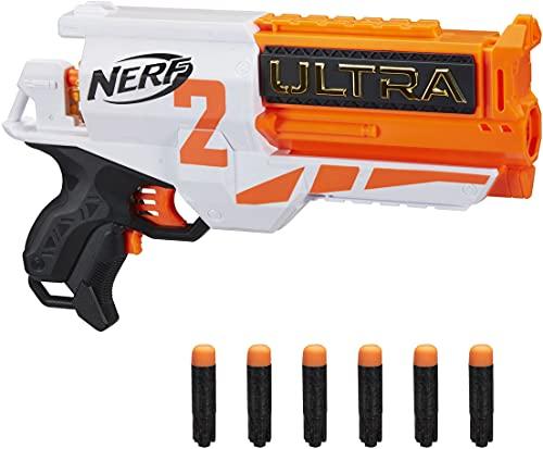 Hasbro Nerf Ultra Two Blaster Motorizzato - Blaster con Retrocarica rapida, 6 dardi Nerf Ultra - Compatibile solo con i dardi Nerf Ultra, Bianco/Arancione
