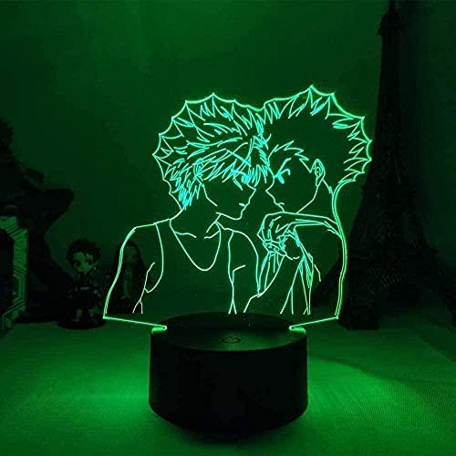 A-Generic Lamp Anime Hunter × Hunter Killua Zoldyck Gon · Freecss LED Luz de Noche 16 Colores Lámpara de Mesa para niños Decoración de Dormitorio