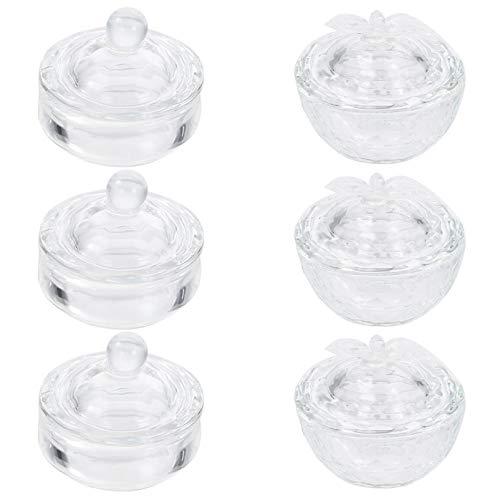 Minkissy 6 stycken klar nagelkonst akryl flytande pulver dappar porslin skål glas kristall kopp glasvaror med lock för nagelkonst manikyr vård verktyg