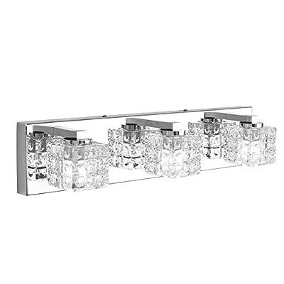 Ralbay Modern Vanity Light Fixtures 3 Lights LED Modern Vanity Light Bathroom Fixtures Over Mirror LED Modern Crystal Glass Vanity Lights (with G9 Bulbs)