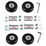 F-ber Luggage Suitcase Wheels with ABEC 608zz Bearings, Inline Outdoor Skate Replacement Wheels with Multi Colors&Sizes, One Set of 4 Wheels (Black, 45mm x 18mm/1.77' 0.7')