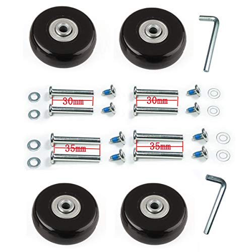 F-ber Wear-Resistant Luggage Suitcase Wheels Replacement Kit 50mm x 18mm Wheels ABEC 608zz Skate Inline Outdoor Replacement Wheels, One Set of (4) Wheels (OD:50 W:18 ID:6 Axles:30, Axles:35)