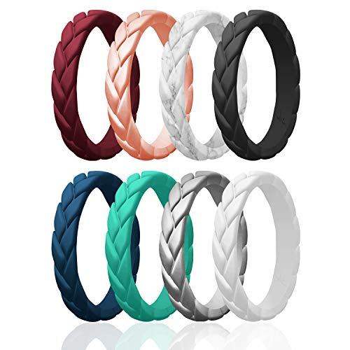 ROQ Silicone Rings for Women Multipack of 8 Womens Silicone Rubber Wedding Rings Bands Flame Leaves - Maroon, Rose Gold, Marble, Black, Turquoise, Silver, Blue, White Colors - Size 6