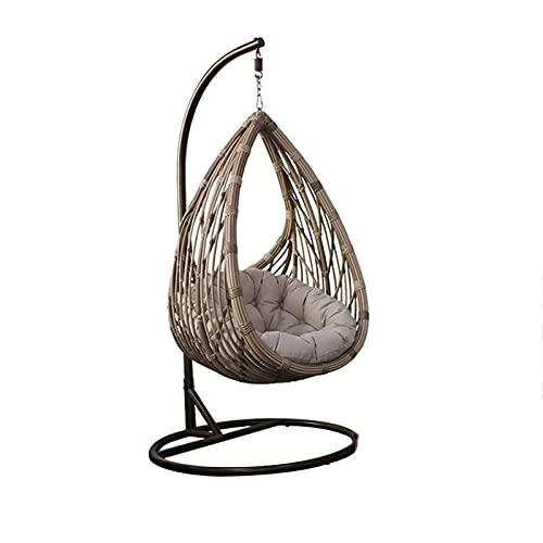 DGDF Terraza de jardín Silla de Swing de ratán, Silla Colgante de Huevo de Mimbre, Silla Colgante de Hamaca, cojín de Granja de Gran tamaño, al Aire Libre en Interiores 90 120 cm