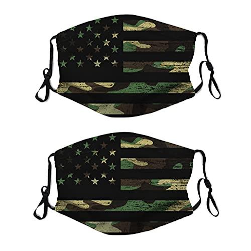 2 mascarillas de tela lavable con lazo ajustable para la oreja, diseño de camuflaje de camuflaje masculino, reutilizable y transpirable, para hombres y mujeres