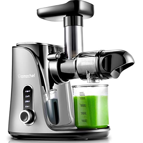 Juicer MachinesAMZCHEF Slow Masticating Juicer Extractor Cold Press Juicer with Two Speed Modes 2 Travel bottles500MLLED display Easy to Clean Brush amp Quiet Motor for VegetablesampFruitsGray