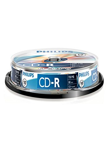 Philips CR7D5NB10/00CD-R Blank Discs 80Min 52x 700MB 10er Spindel