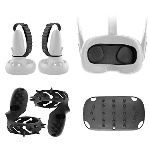 (1 suit) Ermorgen VR Accessories Combination for Oculus Quest Gen 1 Basic Set, Protective PC Headset Cover, Dust Proof Lens Cover, Silicone Controller Cover(1 Pair), Adjustable Hand Grip Straps 4 in 1