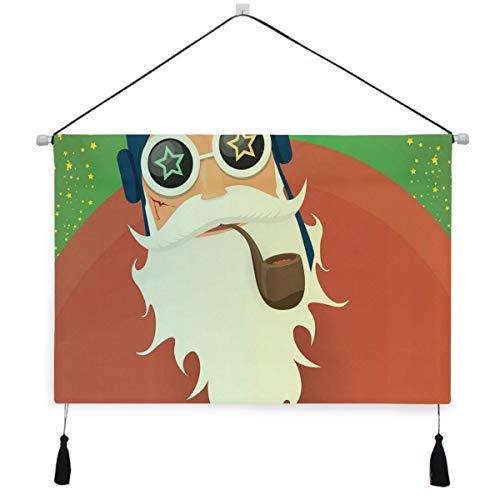 PATINISA Arazzo,Grosso Babbo Natale a dondolo con pipa e barba grossa Appendini Decorativi Da Parete Rotoli Con Nappe Per Corridoio Camera Da Letto Home Hotel Office Decor
