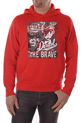 Diesel Felpa Herren Sweatshirt Hoodie (M, Rot)