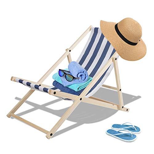 TolleTour Holz Klappstuhl klappbar Gartenliege Abnehmbarem Strandliege für den Strand, Garten, Balkon, Camping,120 kg max.(Blau-Weiß-gestreift)
