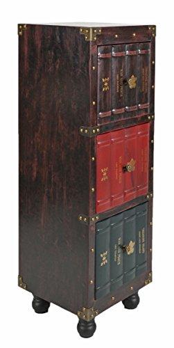ts-ideen estantería cómoda librero estilo de vintage antiguo libros rustico con 3 cajones, color marrón british style