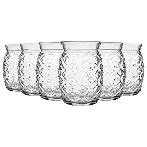 Bormioli Rocco 12 Piezas de cóctel de piña Agria Vasos Set - Decorativo Tropical Tiki Bar Vasos Beber - 455ml