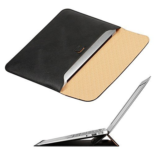 New MacBook 12 inch Case Sleeve with Stand, OMOTON Wallet Sleeve Case for New MacBook 12 inch, Ultrathin Carrying Bag with Stand, Black …
