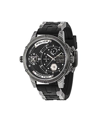 Police Herren Multi Zifferblatt Quarz Uhr mit Silikon Armband 14536JQ02P