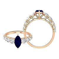 5 X 10 MM マーキーズカット人工ブルーサファイアソリティア婚約指輪、モアッサナイトアクセントリング (家宝品質), 14K イエローゴールド, Size: 8