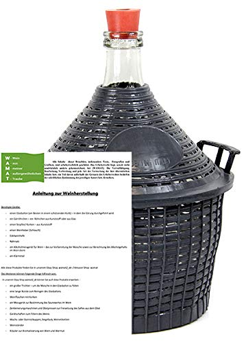 AMBROSIO Weinballon mit Kunststoffkorb + Gummistopfen + Anleitung zur Weinherstellung Glasflasche Glasballon 5 L