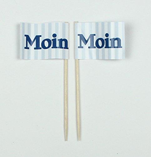 Buddel-Bini Party-Picker Flagge Maritim Moin Hamburg Nord blau weiß Papierfähnchen in Profiqualität 50 Stück Beutel Offsetdruck Riesenauswahl aus eigener Herstellung