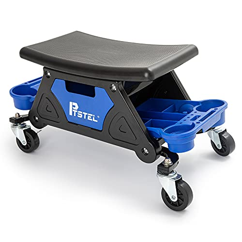 PTSTEL Roller Mechanics Seat, Muti-Function Tool Stools, Heavy Duty Creepers Seat Big Seating Platform Slide Out Tool Trays and Drawer 300 lb. Capacity