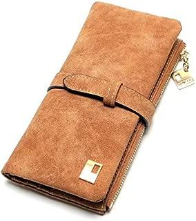 Elios Women's Nubuck Leather Drawstring Design Long 2-fold Clutch Wallet (Brown)