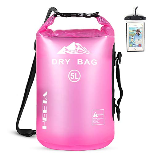 HEETA Waterproof Dry Bag for Women Men Roll Top Lightweight Dry Storage Bag Backpack with Phone Case for Travel Swimming Boating Kayaking Camping and Beach Transparent Rose Red 20L
