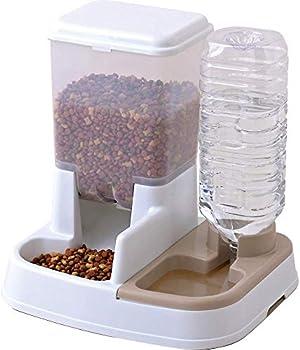 Iris Ohyama JQ-350 Distributeur d'eau (2 L) et de Nourriture (1,5 kg) pour Chien et Chat, Plastique, Blanc, 1 Unité (Lot de 1)