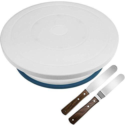 PrimeMatik - Base Girevole per Torte da 28 cm con spatole. Piattaforma Rotante Bianca