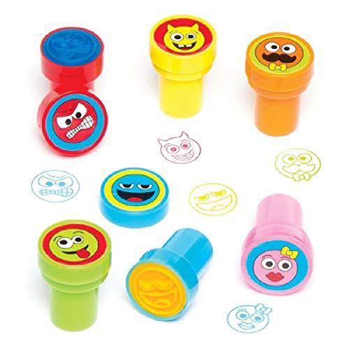 Baker Ross Funny Face Lot de 10 tampons auto-encreurs pour enfants à décorer et personnaliser Arts & Crafts, Coloris Assortis, 22mm, Set Pièces