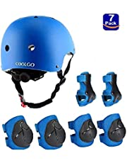 COOLGO Kids Skateboard Helm Beschermende Gear Set, 7 in 1 Verstelbare Knie Elleboog Pads Polsbeschermers Peuter Bescherming Veiligheid Scooter Schaatsen Bike