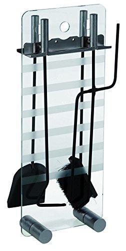 alpertec de cheminée fer avec fond en verre, 1 pièce, noir laqué, 39060310