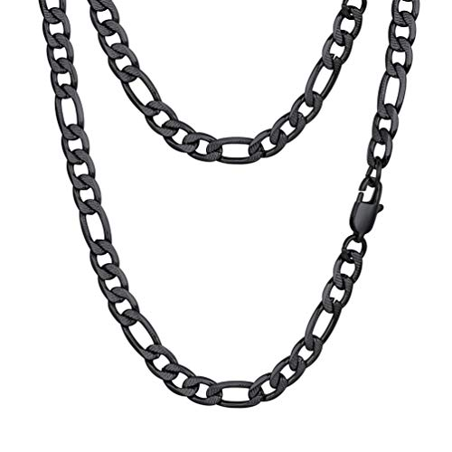 PROSTEEL Figaro Chain Black Necklace 22inch Punk Gothic Stainless Steel Jewelry Chains Necklaces Women Men