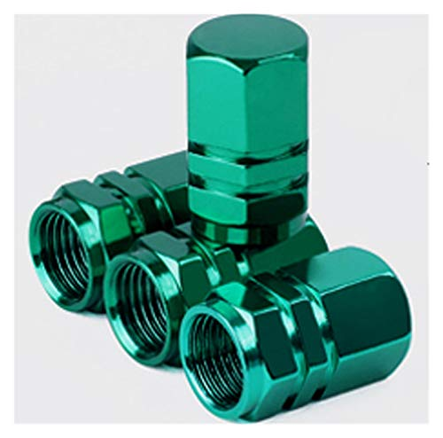 Tapas de válvula de neumático de coche, 4 unidades, de aluminio, hexagonales, para válvulas de neumáticos, para válvulas de EE. UU., accesorios para neumáticos, accesorios para neumáticos, color verde