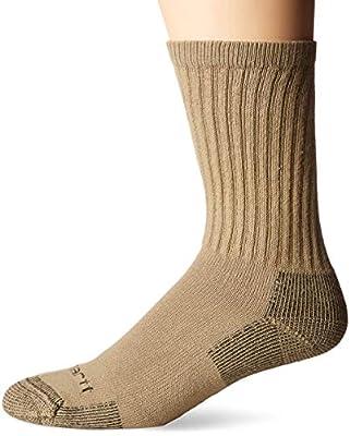 Carhartt Men's 3-Pack Standard All-Season Cotton Crew Work Socks, Khaki, Shoe Size: 6-12