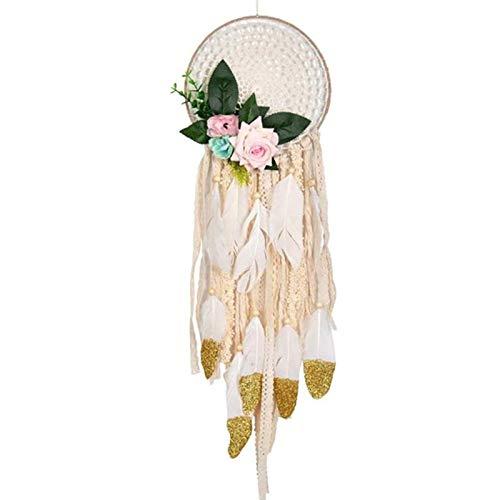 CHENGZI Atrapasueños hechos a mano con plumas de oro blanco para regalo de boda, fiesta de niños, decoración de pared, color beige