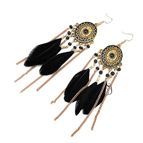 LUFA Femmes Filles Plume Tassel Hook Ear Stud Chain Long Boucles d'oreilles Bijoux