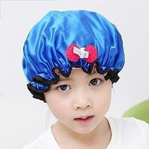DEWUFAFA Douche imperméable Cap Cartoon élastique de Bain Chapeau for Adultes et Enfants (Pack de 2) (Color : Blue)