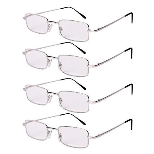 FILTRAL Lesebrille Set 4er-Pack versch. Ausführungen | Dioptrin +1.0, 1.5, 2.0, 2.5, 3.0, 3.5 | Sehhilfe Lesehilfe Brille Herren Damen (Metall Silber, 2.0)