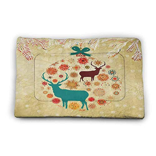 Crate Pad Mat Reindeer and Snowflakes in Abstract Xmas Ball Ornament Vintage Style Paper Art Image Waterproof Dog Blanket for Couches,Sofa,Bed 35' x 23' Beige