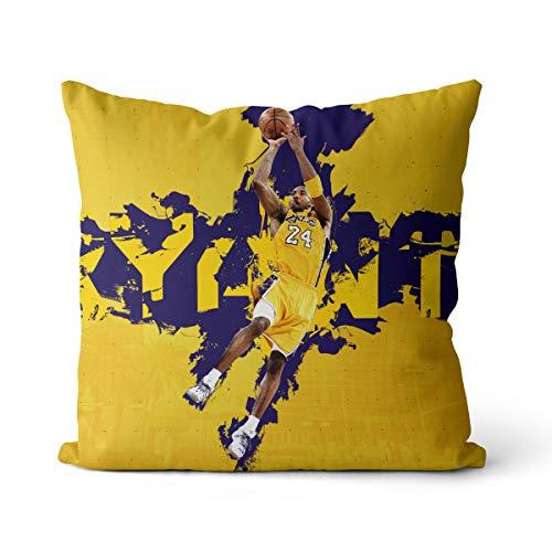 Kobe Bryant Campeón de puntuación de la NBA Funda de Almohada Black Mamba No Puedo Pagar la Pelota Funda de Almohada Tejido de Lino y algodón Natural Puro 40x40cm