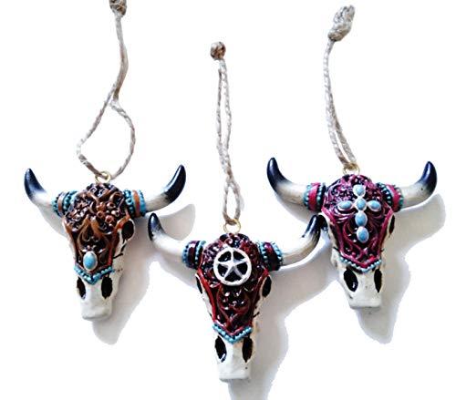 S.Star Resin Cow Skull Ornaments - 3 Pc - 2.5', Multi-Color.