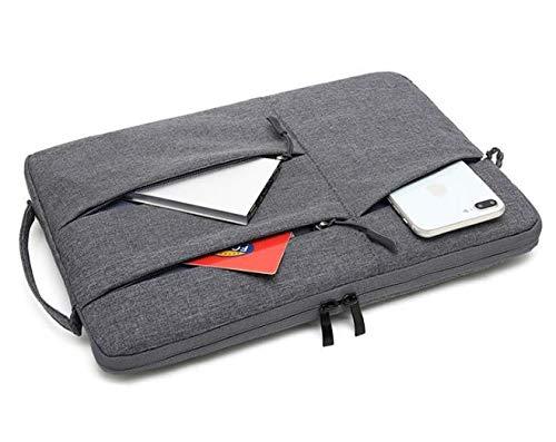 Bolsa Case Capa Sleeve Macbook Notebook Até 14.0 Polegadas Com 3 Bolsos Frontais - Cinza Escuro