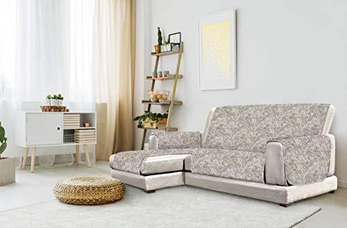 "Italian Bed Linen ""Glamour"" Funda para sofà Anti-Deslizamiento con Chaise-Longue, Izquierda, marròn, 240cm"