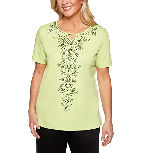 Alfred Dunner Women's Cayman Islands Keyhole Embellished T-Shirt (Petite Small)