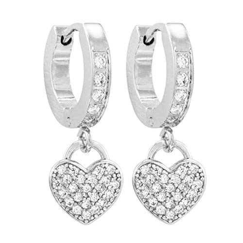 Ivy and Max Girl's Surgical Steel Cubic Zirconia Dangling Hearts Earrings (Silver)